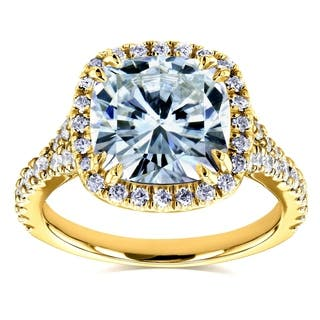 Annello by Kobelli 14k Yellow Gold 3 1/3ct TGW Cushion Moissanite (HI) and Diamond Halo Cathedral Ring|https://ak1.ostkcdn.com/images/products/12838432/P19603804.jpg?impolicy=medium