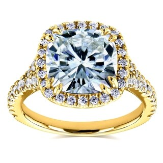 Annello by Kobelli 14k Yellow Gold 3 1/3ct TGW Cushion Moissanite (HI) and Diamond Halo Cathedral Ring