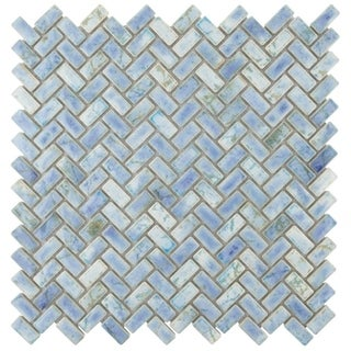 SomerTile 11.625x11.625-inch Samoan Herringbone Neptune Blue Porcelain Mosaic Floor and Wall Tile (10/Case, 9.59 sqft.)