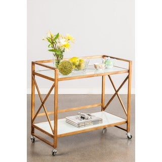 Mia Brown Metal and Glass Bar Cart