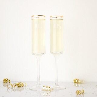 Mr. & Mrs. 8 oz. Gatsby Gold Rim Contemporary Champagne Flutes