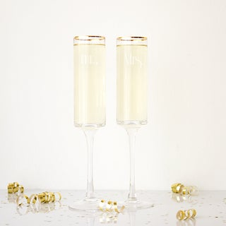 Mr. & Mrs. 8 oz. Gatsby Gold Rim Contemporary Champagne Flutes