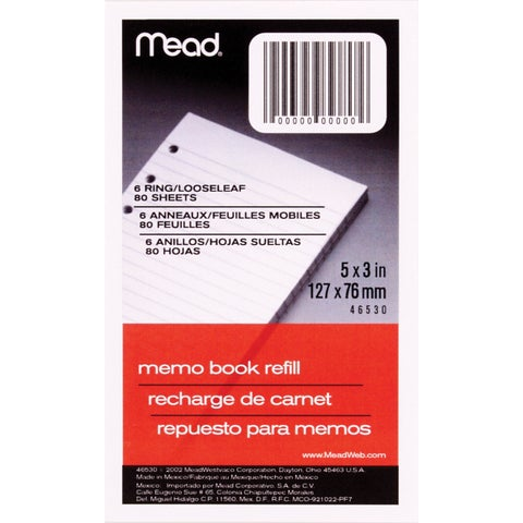 "MeadWestvaco 46530 80 Sheet 3"" x 5"" Memo Book Refill"