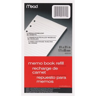 "MeadWestvaco 46534 80 Count 3-3/4"" x 6-3/4"" Memo Book Refill"
