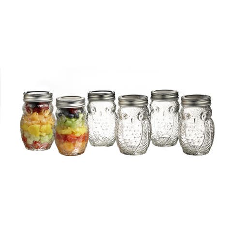 Silvertone/Clear Glass/Metal Owl Jars (Set of 6)