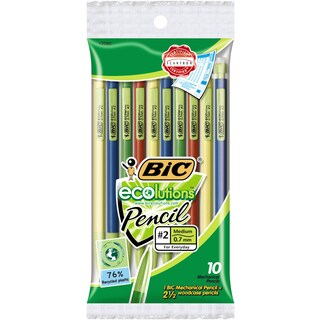 Bic MPEP101-Blk Assorted Colors Ecolutions #2 Mechanical Pencil 10 Count