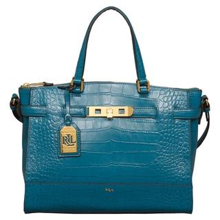 Ralph Lauren Croc Embossed Darwin Turk Blue Satchel Handbag