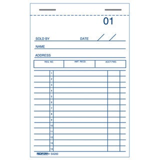 "Rediform-Blueline 5A200 3"" X 5"" Sales & Guest Check Books"