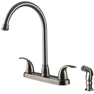 Ultra Faucets UF21043 Two-Handle Stainless Steel Kitchen Faucet With Side Spray