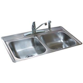 "Fhp FDS654N 6.5"" Stainless Steel Satin Finish Double Bowl Topmount Sink"