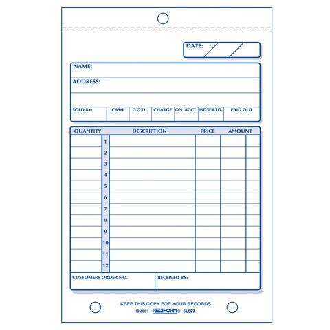 "Rediform-Blueline 5L527 4-1/4"" X 6-3/8"" Carbonless Duplicate Sales Book"