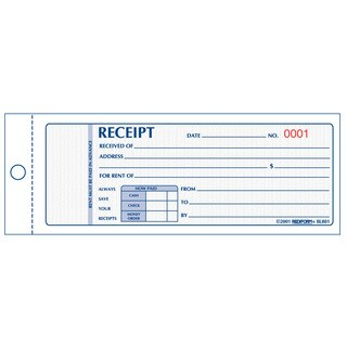 "Rediform-Blueline 8L801 3"" X 7"" Two Part Rent Receipt Book"