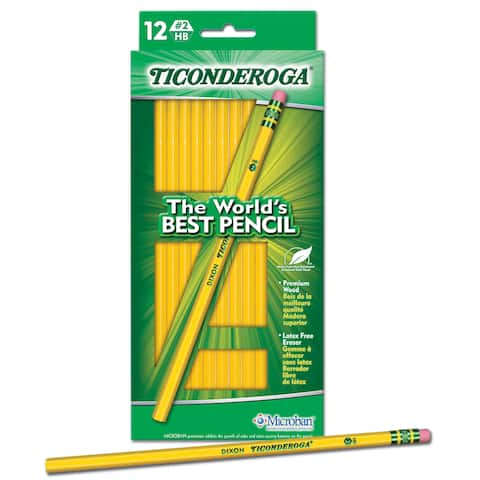 Ticonderoga 13812 #2 Yellow Wood Pencils 12 Count