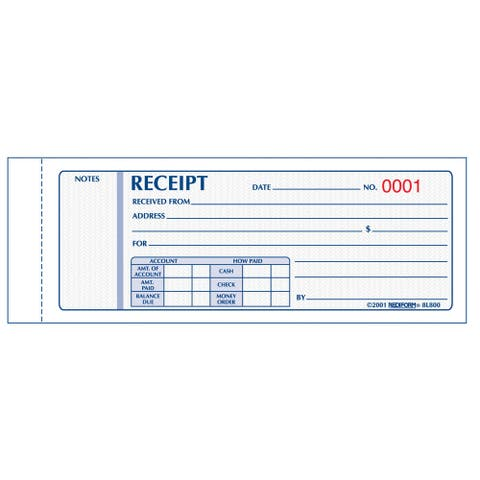 "Rediform-Blueline 8L802 2-3/4"" X 7"" Carbonless Triplicate Money Receipt Book"