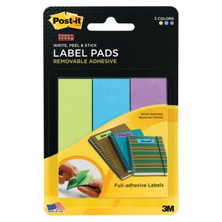 """3M 2900-LBG 1"""" X 3"""" Assorted Removable Label Pads 3 Count"""