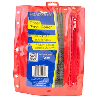 "A&W 30002 7.85"" X 10"" 3 Hole Pencil Pouch Assorted Colors"