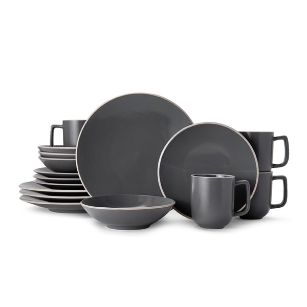 Mikasa Leah Charcoal Stoneware Dinnerware Set for 4 - Case of 16  sc 1 st  Overstock & Mikasa Leah Charcoal Stoneware Dinnerware Set for 4 - Case of 16 ...