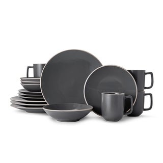 Mikasa Leah Charcoal Stoneware Dinnerware Set for 4 - Case of 16