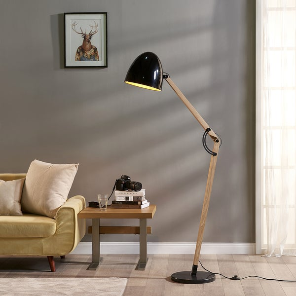 Teamson Versanora - Bastone Wooden Floor Lamp with Black Shade