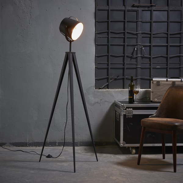 Versanora - Artiste Tripod Floor Lamp with Shade - Black & Gold Finish