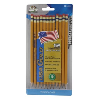 Write Dudes DDR56 USA Gold Premium Cedar No. 2 Pre Sharpened Pencils 12 Count