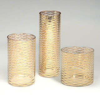 Gold Glass Tall Ribbons Vase