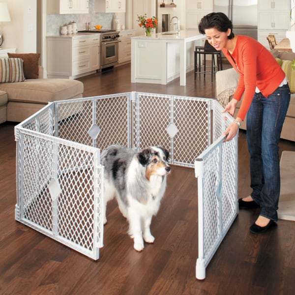 North States Petyard Grey Plastic 6 Panel Pet Gate Free