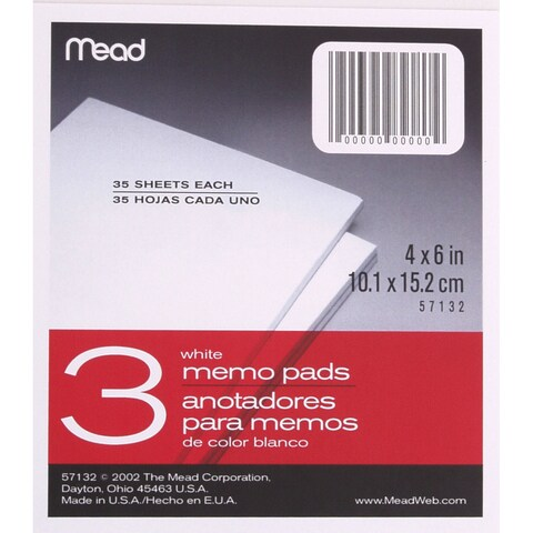 "MeadWestvaco 57132 4"" X 6"" Memo Pads 3 Count"