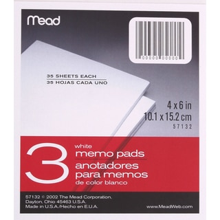 """MeadWestvaco 57132 4"""" X 6"""" Memo Pads 3 Count"""
