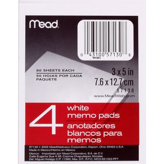 "MeadWestvaco 57130 3"" X 5"" Memo Pads 4 Count"