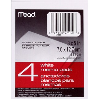 """MeadWestvaco 57130 3"""" X 5"""" Memo Pads 4 Count"""