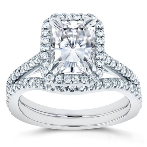 Annello by Kobelli 14k White Gold 2 1/4ct TGW Radiant Cut Moissanite and Diamond Halo 2-Piece Bridal Rings Set