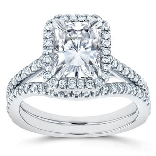 Annello by Kobelli 14k White Gold Radiant Cut Moissanite and 2/5ct TDW Halo Diamond 2-Piece Bridal R