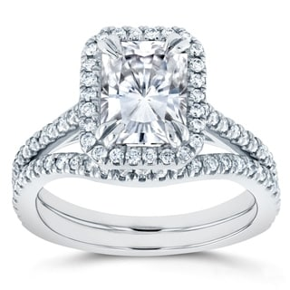 Annello 14k White Gold Radiant Cut Moissanite and 2/5ct TDW Halo Diamond 2-Piece Bridal Rings Set (G-H, I1-I2)