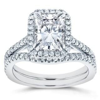 Annello by Kobelli 14k White Gold 2 1/4ct TGW Radiant Cut Moissanite (HI) and Diamond Halo 2-Piece Bridal Rings Set