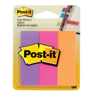 "3M 5221 1"" X 3"" Post-It® Page Markers Assorted Neon 3 Count"