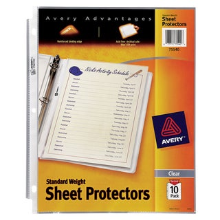 Avery PV-10P 75540 10 Pack Clear Standard Weight Reference Sheet Protectors
