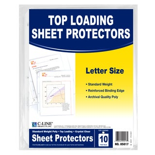 "C Line Products Inc 05017 11"" L X 8"" W Clear Top-Loading Sheet Protector Pack 10 Ct"