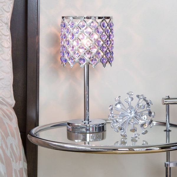 Silver Orchid March 13.25-inch Crystal Glam Accent Lamp