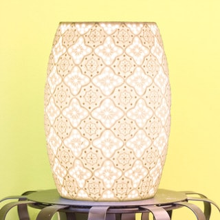 River of Goods White Ceramic 10.75-inch Lace-design Uplight Accent Lamp