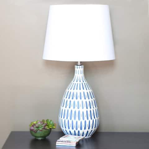 "Carson Carrington Stege Blue/ White Ceramic 24.5-inch Table Lamp - 13.875""L x 13.875""W x 24.5""H"