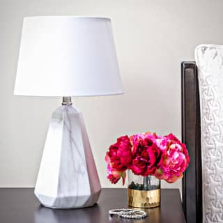 White Linen 19-inch High Table Lamp with Faux Marble Base|https://ak1.ostkcdn.com/images/products/12838980/P19604192.jpg?impolicy=medium