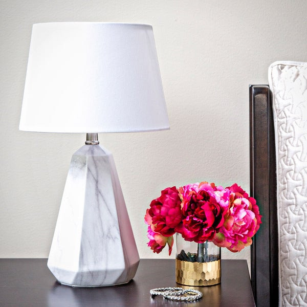 Shop White Linen 19 Inch High Table Lamp With Faux Marble