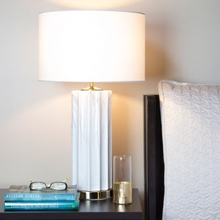 River of Goods White Linen 25.75-inch-high Faux-marble Base Table Lamp