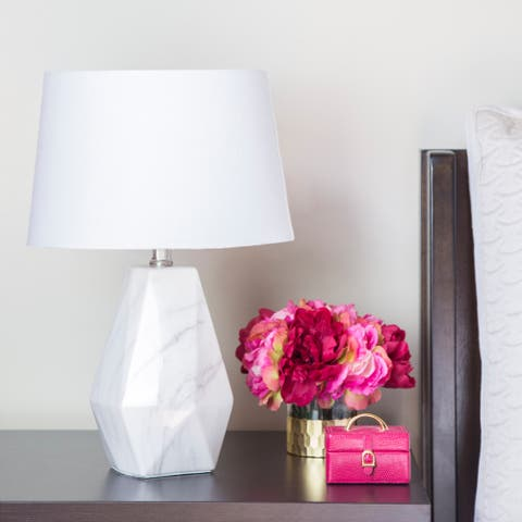 """River of Goods White Ceramic 18-inch Faux Marble Table Lamp - 11.875""""L x 11.875""""W x 18.125""""H"""