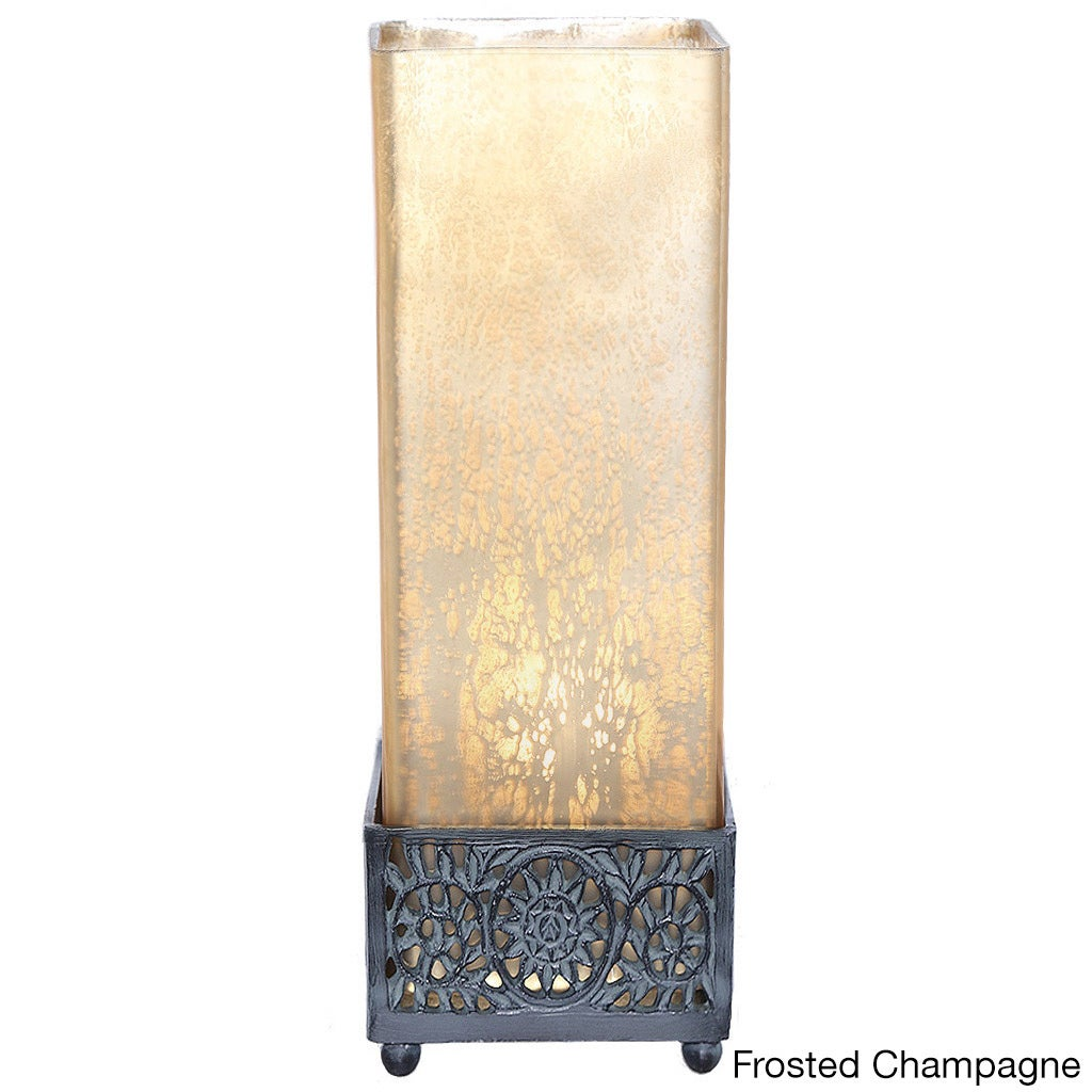 Pine Canopy Malheur Mercury Glass 12.9 Inch Square Uplight Accent Lamp (3  Options Available