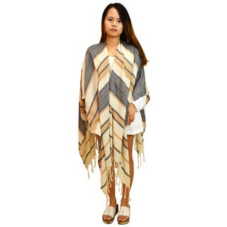Multicolored Cotton/Linen Striped Fringe Poncho