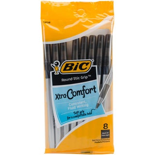 Bic GSMGP81-BLK Black Round Stic Ultra Grip Ball Pen 8 Count