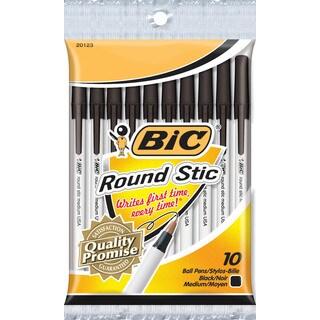 Bic GSMP101-BLK Black Round Stic Ballpoint Pen 10 Count