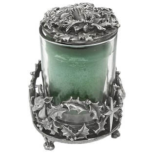 Grey Pewter and Metal Reindeer and Holly Votive